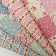 Bundle 4 gorgeous fat quarters shabby chic florals pinks & blues 100% cotton   eBay