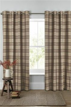 Buy Archie Woven Check Eyelet Curtains from the Next UK online shop