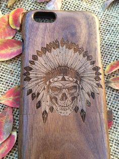 New to EliCases on Etsy: Indian Skull - iPhone 5 6 6s & 6Plus AND Samsung Galaxy s4 s5 s6 s6 edge s6 edge plus Note wood cases (21.95 USD)