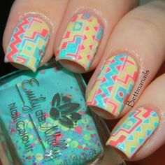 "Reverse Stamping ~ base polish Emily de Molly ""Bo Peep"" and stamping decal created with EDM11 plate along with Sinful Colors ""Snow Me White"", ""Unicorn"" and ""Island Coral"" ~ by Bettina's Nails"