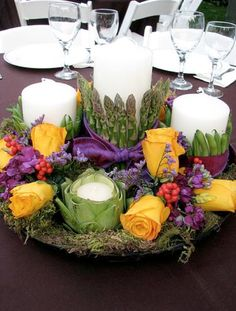 centerpiece with roses and veggies