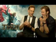 Tom Hiddleston & Chris Hemsworth Funny Interview 2013. Questions about their roles, being hit by Natalie Portman, fanbases, a possible Loki movie (?), and Tom doing an impression of Chris as Loki.