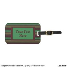 Travel in style with Green luggage tags from Zazzle! Make your tags today! Green Gifts, Bag Tag, Luggage Bags, Travel Style, Green Colors, Stationery, Stripes, Tags, Yellow