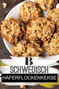 This recipe for Swedish Oatmeal Biscuits is a breeze and in just 25 minutes the oven-fresh cookies are on your table. Potluck Desserts, Unique Desserts, Delicious Desserts, Dessert Recipes, Easy Cookie Recipes, Oatmeal Recipes, Oatmeal Biscuits, Oatmeal Cookies, Baked Oats