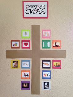 """Each day of 2 Weeks 2 the Cross, we will look at one icon around the cross hanging on a prominent wall in our living room. For example, the first day, the image is of a palm branch. The theme for that day is """"Jesus came to save me."""" We will read Mark 11:1-11 together, and then make construction paper palm branches and shout Hosanna to imagine what it was like when Jesus made His triumphal entry into Jerusalem."""