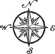 Windrose, aka Compas, in Black & White cliparts vectoriels libres de droits