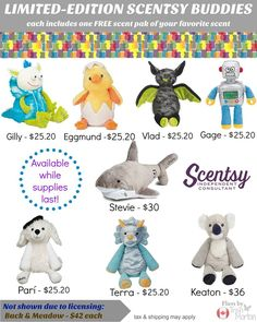 Every LIMITED-edition Scentsy buddy features a zippered pouch to hold your favorite scent pak.While supplies last.https://reneeroy.scentsy.ca/shop/c/3451/scentsy-buddies