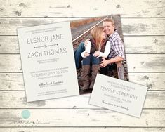 Simple Cream LDS Wedding Invitation with Photo and Temple
