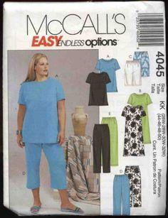 McCall�s Sewing Pattern 4045 Womans Plus Size 26W-32W Easy Wardrobe Top Dress Shorts Pants