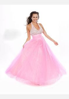 Halter Tulle Ball Gown Empire Sleeveless Pink Dress For Prom