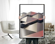 Scandinavian wall art Geometric Poster Abstract by JAnoveltyDeSign Scandinavian Interior Design, Modern Interior Design, Modern Wall Art, Modern Decor, Grey Room Decor, Large Wall Prints, Triangle Art, Polygon Art, Geometric Poster