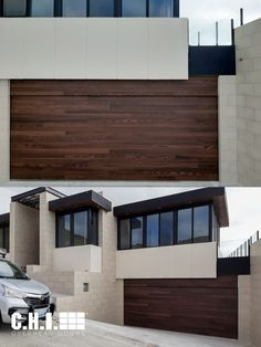 Can you believe this garage door is made of steel? Accents Woodtones provide you with the luxury, vibrance, and beauty of real wood - without the maintenance. Order your free color samples today! Shown: Planks in Dark Oak Contemporary Garage Doors, Modern Garage Doors, Modern Contemporary, Garage Door Windows, Wood Garage Doors, Windows And Doors, Spanish Exterior, Black Window Frames, Planks