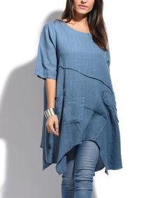 Another great find on #zulily! Blue Seam Asymmetrical-Hem Linen Tunic #zulilyfinds