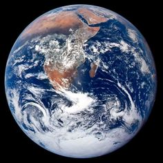 "The famous ""blue marble"" photo of the Earth. The Apollo 17 crew took this image en route to the moon."