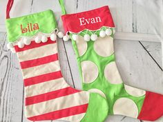 Personalized Christmas Stocking, monogrammed stocking, Christmas stocking by SilverSpoolShop on Etsy