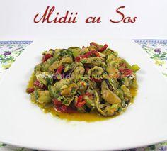 Reteta de midii cu sos se prepara rapid si usor. Mancarea de midii cu sos are un gust delicios usor picant, cu aroma de lamaie si patrunjel.
