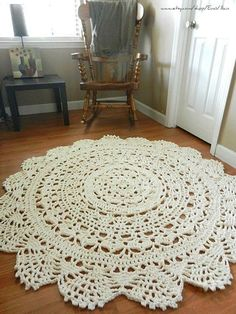 [Lace you can walk on! It's beautiful, especially for under a round table.] Giant Crochet Doily Rug, floor, off white- Ecru- nude- Lace- large area rug, Cottage Chic- Oversized- shabby chic home decor- round rug Crochet Doily Rug, Crochet Patterns, Doily Patterns, Knit Crochet, Shabby Chic Homes, Shabby Chic Decor, Cottage Chic, Tapete Doily, Crochet Home Decor