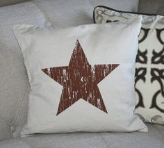 Distressed Lone Star Screen Printed Pillow by LoneStarLizzie
