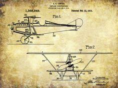 Airplane Patent Print - Patent Poster - Pilot - Faux Vintage
