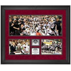 Chicago Blackhawks 2013 NHL Stanley Cup Final Champions 23'' x 27'' Three-Photograph Collage with Game-Used Ice
