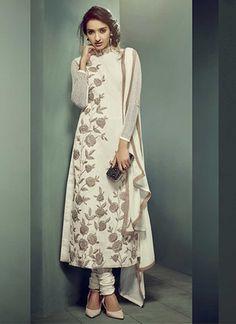 Buy Cream net embroidered semi stitched salwar with dupatta party-wear-salwar-kameez online Designer Salwar Suits, Designer Anarkali, Pakistani Outfits, Indian Outfits, Ethnic Fashion, Indian Fashion, Women's Fashion, Fashion Design, Kaftan