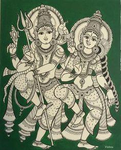 Kalamkari Painting, Madhubani Painting, Krishna Painting, Indian Traditional Paintings, Indian Art Paintings, Ancient Indian Art, Indian Folk Art, Shiva Art, Hindu Art