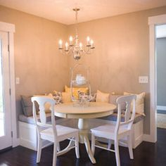 Breakfast Table Nook. A good way to utilize a small space.