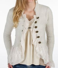 BKE Boutique Tiered Cardigan Sweater (If I'd buy this...I'd replace buttons with pewter)