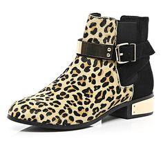Brown leopard print pony skin Chelsea boots - ankle boots - shoes / boots - women