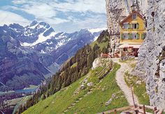 Wildkirchli, Switzerland. Accessible only by cable car plus 20 min. hike. How is that for a getaway?