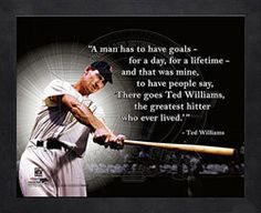 """""""A man has to have goals - for a day, for a lifetime - and that was mine, to have people say, 'There goes Ted Williams, the greatest hitter who ever lived.'"""""""