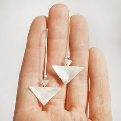 Long silver triangle earrings lightweight and comfortable by umya