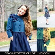 Modest Clothing: Two toned applique jacket worn with mid length denim skirt by Apostolic Clothing