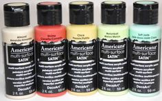A NEW color palette for 2014. Five brand new Americana Multi-Surface Satin Paints. http://hofcraft.com/deco-art-americana-multi-surface-satin-paint.html