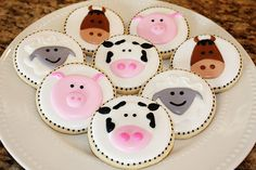 Items similar to Farm Animal Cookies on Etsy Cowgirl Cookies, Farm Cookies, Milk Cookies, Royal Icing Cookies, Cupcake Cookies, Sugar Cookies, Iced Biscuits, Cookies Et Biscuits, Farm Cake
