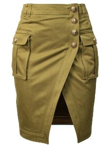 """Balmain Kaki Button Skirt. Army green cotton military inspired pencil skirt with front slit detail. Designer signature embossed buttons. Side pockets. Welt pockets at back. Belt loops. Zipped back.    - 100% cotton  - Dry clean  - French sizing  - True to designer sizing - Model is 172 cm / 5´9"""" and is wearing a size XS/FR36"""