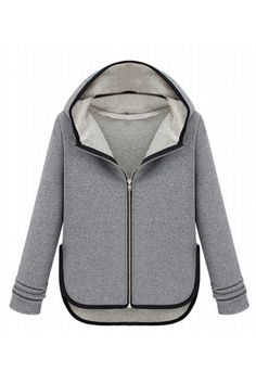 Romwe Asymmetric Color Block Light-grey Hooded Coat