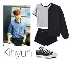 """Ideal Type: Kihyun"" by kookiechu ❤ liked on Polyvore featuring Levi's, Chicnova Fashion, Monki and Converse"