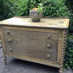 Painted furniture- This Sweet Yellow Distressed Dresser has been Hand Painted with Miss Mustard Seed Paint and other custom blends to capture a French Country Home or that Rustic Farm  house nestled away on the mountain top. This Yellow Vintage Dresser is ready to be showcased in many Home Decors  - Hand Painted Dresser - French Country Chest of Drawers - Shabby Chic Dresser  - Rustic Farmhouse Dresser - Chippy Annie Sloan - Milk Paint - Custom Paint  by DareToBeVintage on Etsy