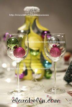 Decoración de mesas: candelabros con copas - Inspiraciones: manualidades y reciclaje