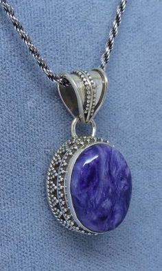 Small Genuine Charoite Necklace - Sterling Silver - Victorian Filigree Design - Rope Chain - Hand Made - P161908