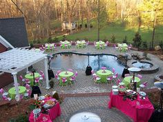 dinner party by the pool