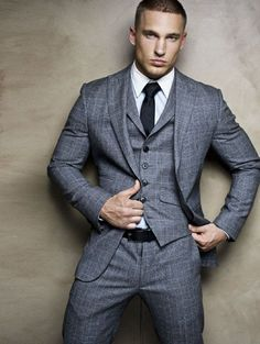 fitted three piece gray plaid suit. white oxford. charcoal gray tie. black belt. serious swag. dapper. style. (scheduled via http://www.tailwindapp.com?utm_source=pinterest&utm_medium=twpin&utm_content=post888939&utm_campaign=scheduler_attribution)