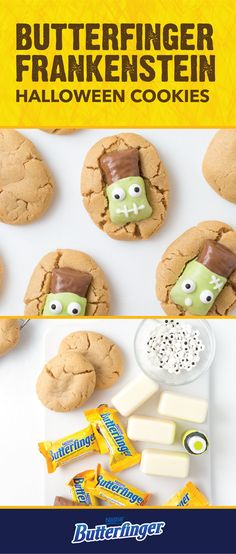 A soft, chewy cookie combined with the crispety, crunchety, peanut-buttery taste of BUTTERFINGER® Fun Size candy bars? Sign us up! These Butterfinger Frankenstein Cookies are a delicious way to liven up all of your fall parties. Use peanut butter cookies, melted almond bark, and candy eyes to decorate this tasty Halloween dessert. Check out the full easy recipe by clicking here.