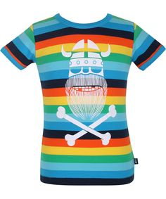 Danefæ funky striped t-shirt with big Erik the Viking. danefae.en.emilea.be