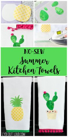 No-sew Summer Kitchen Towels | These easy to make DIY no-sew pineapple and cactus summer kitchen towels bring a bright burst of summer into the kitchen!
