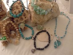 Sea glass rings, necklace & stretch bracelets by WaterSpirits Jewelry