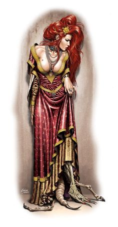 Strega della Seduzione by Andrea Uderzo via DeviantArt High Fantasy, Dark Fantasy Art, Fantasy Women, Fantasy Artwork, Dark Art, Dnd Characters, Fantasy Characters, Female Characters, Fictional Characters