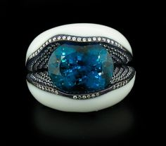 Arunashi Indicolite and Diamond Ring in Cacholong