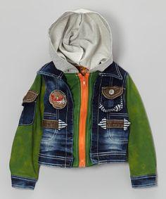 Loving this Green & Blue Denim Zip-Up Hoodie - Toddler & Boys on #zulily! #zulilyfinds